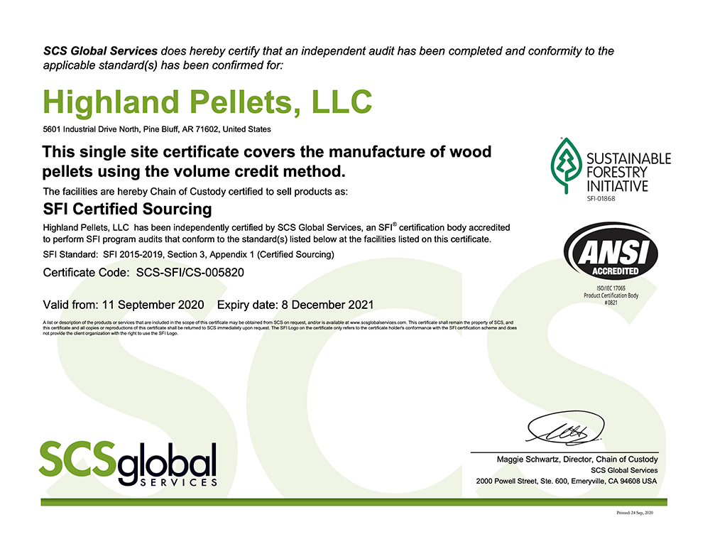 S.F.I. Fiber Sourcing Standard Certificate