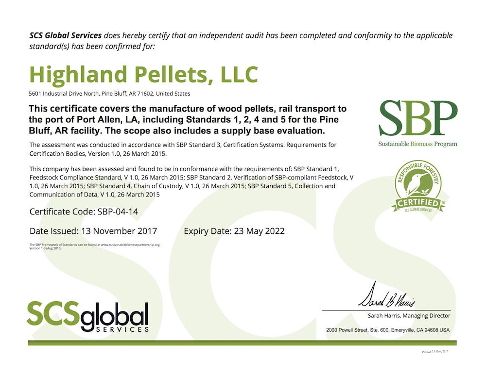 Sustainable Biomass Program Certificate