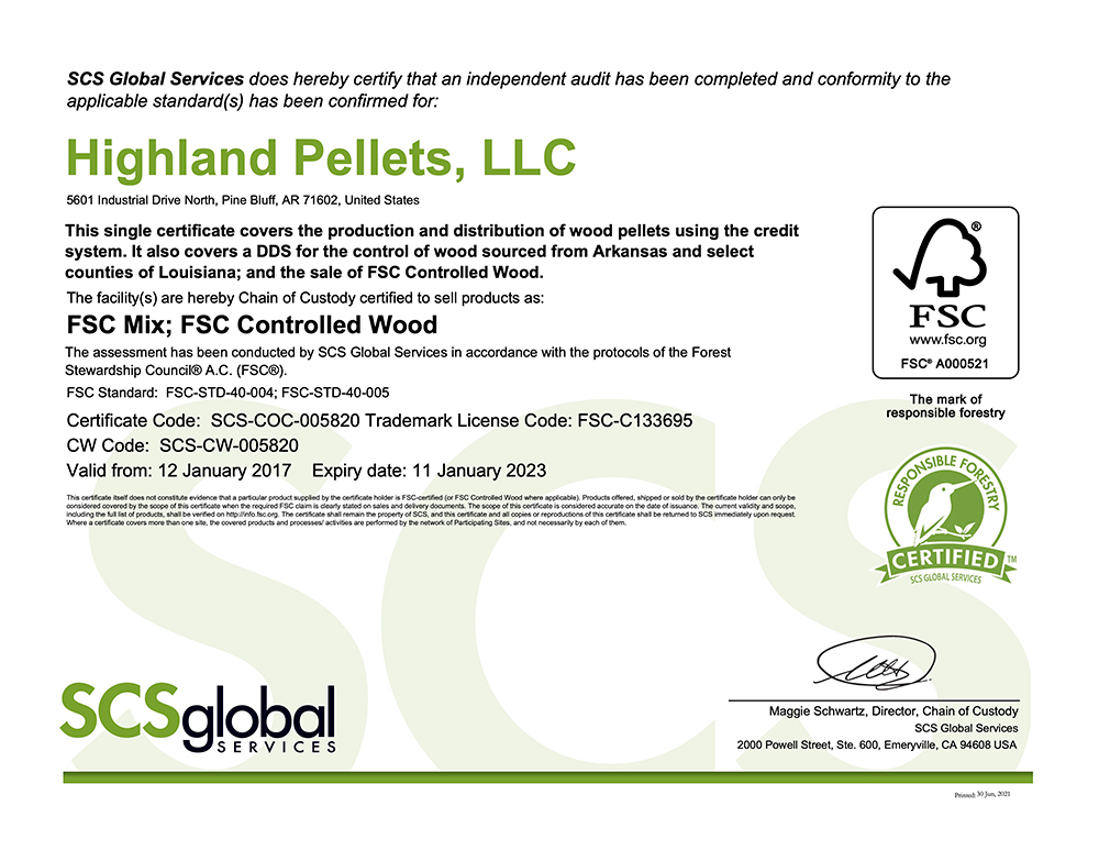 S.C.S. – F.S.C. Mix, FSC Controlled Wood Certificate